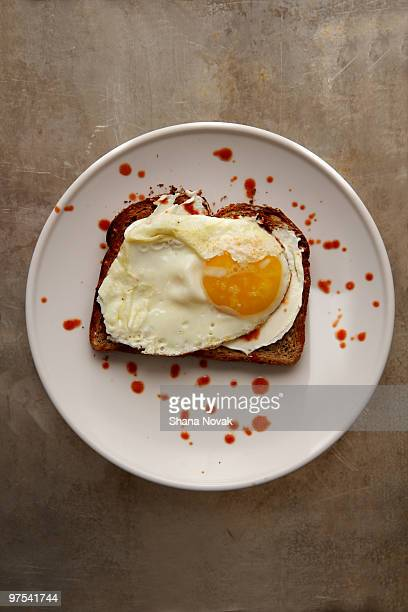 Fried egg and hot sauce on toast