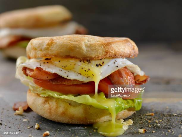 Fried Egg, BLT Breakfast Sandwiches on English Muffins