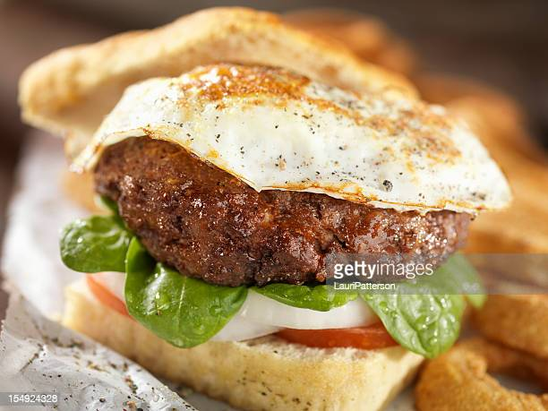 Fried Egg Burger with Spinich