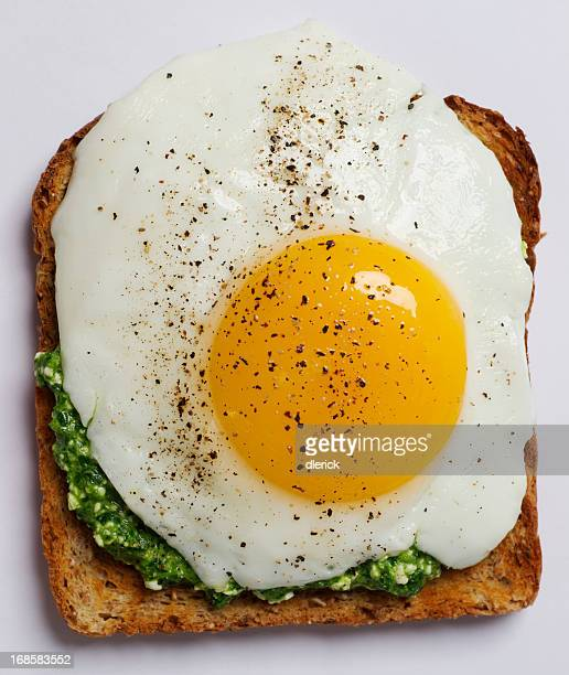 Fried Egg on Toast with Spinach Pesto