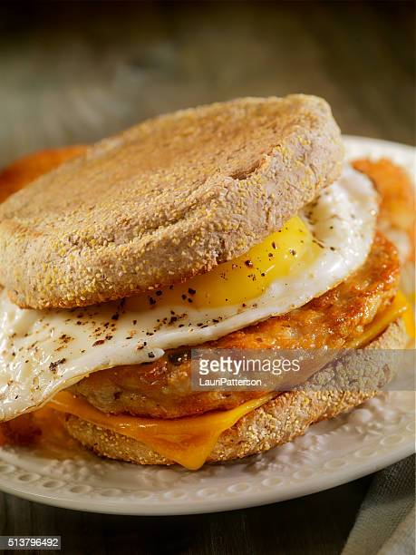 Fried Egg, Sausage and Cheese Breakfast Sandwich