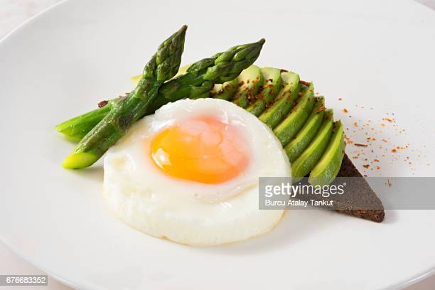 fried egg with avocado and asparagus