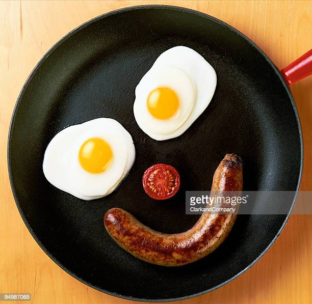 Fried Eggs and Sausage Breakfast Arranged as a Face