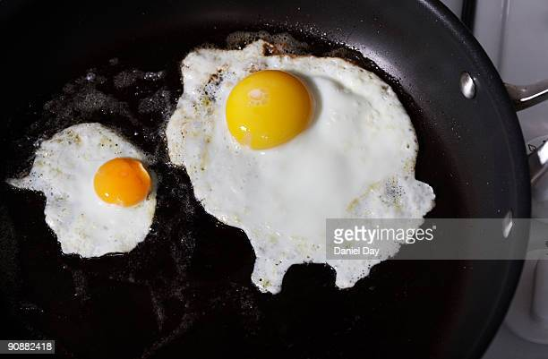 fried eggs in a pan