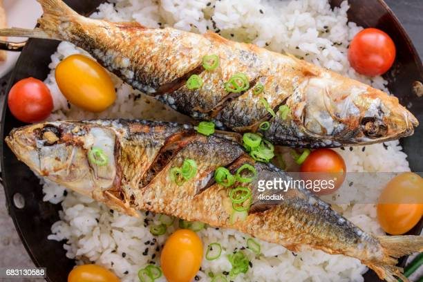 fried fish over rice - sardine foto e immagini stock