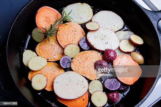 fried heirloom potatoes and yams - yam stock pictures, royalty-free photos & images