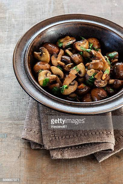 Fried mushrooms with garlic and parsley
