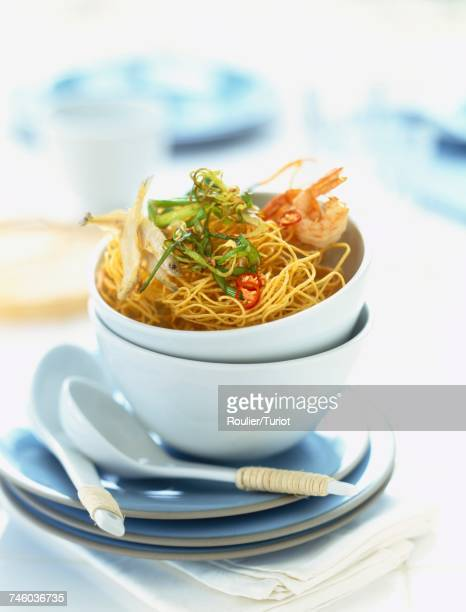 Fried noodles with shrimps,fish and leeks