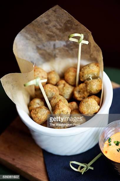 ALEXANDRIA VA Fried Olives with Pimento Aioli at The Majestic Cafe photographed in Alexandria VA