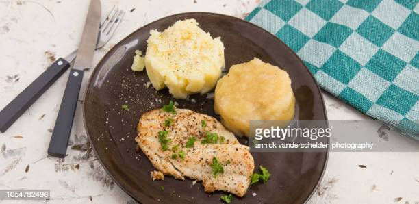 Fried plaice, apple sauce and potato puree