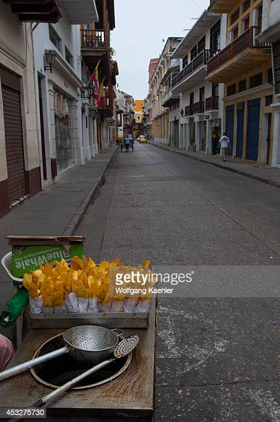 Fried plantain chips for sale in the streets of Cartagena Colombia