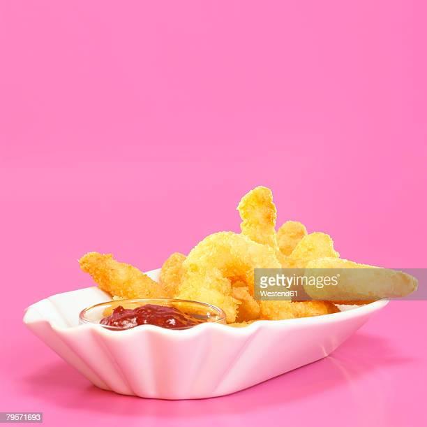 Fried prawns with dip