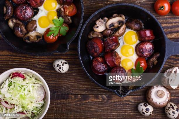 Fried quail eggs with sausages and mushrooms