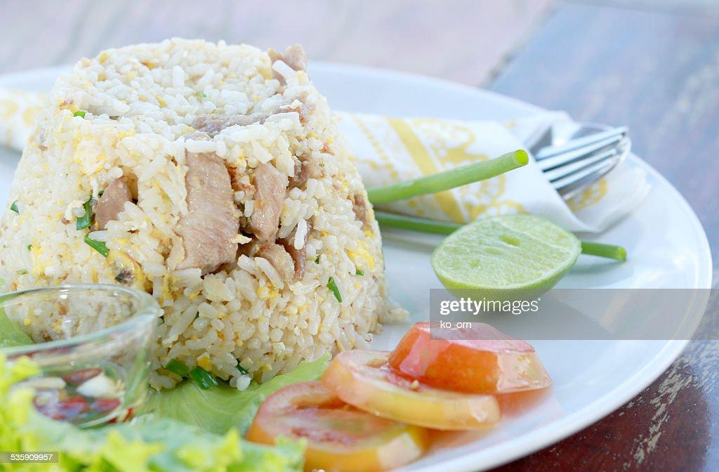 Fried rice with pork : Stock Photo