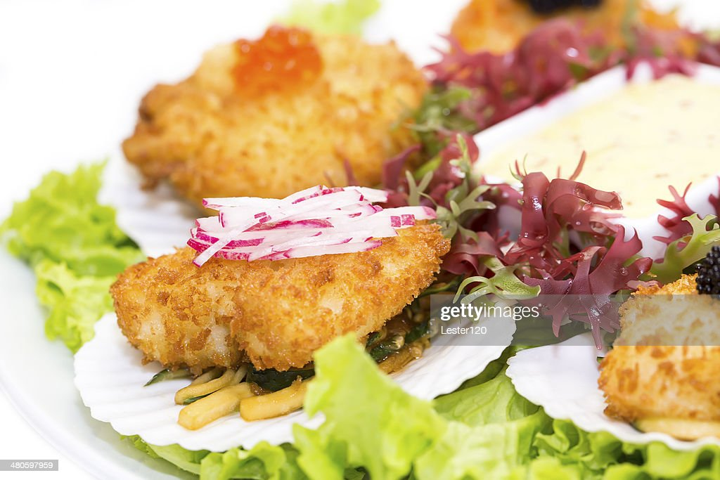 fried scallops : Stock Photo