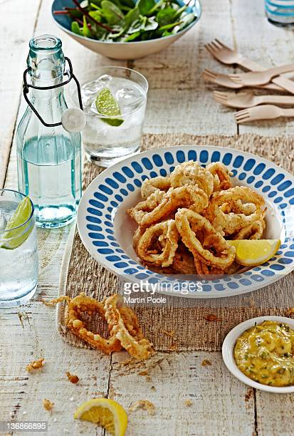 fried squid rings on table