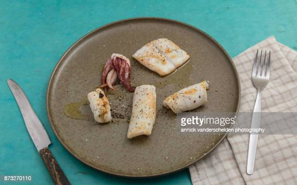 Fried tentacles and mantle cuts of European squid or common squid (Loligo vulgaris) on pottery plate.
