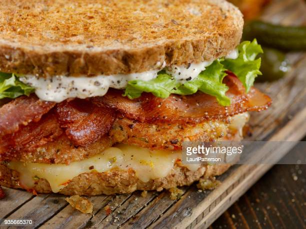 fried tomato, blt sandwich - club sandwich stock pictures, royalty-free photos & images