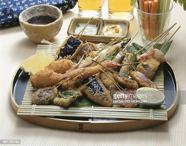 Fried vegetables and seafood