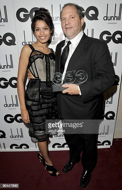 Frieda Pinto and Harvey Weinstein attends the 2009 GQ Men Of The Year Awards at The Royal Opera House on September 8 2009 in London England