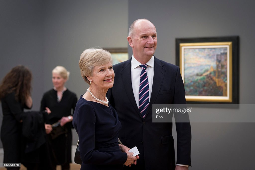 Friede Springer and entrepreneur and patron Dietmar Woidke attend the official opening of the Barberini Museum on January 20, 2017 in Potsdam, Germany. The Barberini, patronized by billionaire Hasso Plattner, features works by Monet, Renoir and Caillebotte among others.