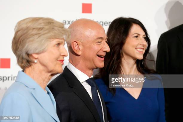 Friede Springer Jeff Bezos and his wife MacKenzie Bezos attend the Axel Springer Award 2018 on April 24 2018 in Berlin Germany Under the motto An...