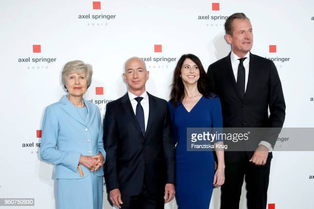 Friede Springer Jeff Bezos his wife MacKenzie Bezos and Mathias Doepfner attend the Axel Springer Award 2018 on April 24 2018 in Berlin Germany Under...