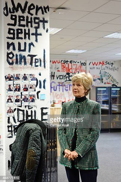 Friede Springer publisher and widow of Axel Springer stays in a working room in front of a jump where written the words Wenn du gehst geht nur ein...