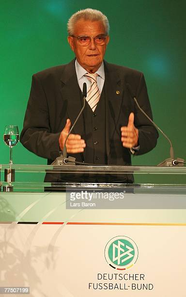 Friedel Guett speaks during the second day of the DFB Bundestag at the Rheingoldhalle on October 26 2007 in Mainz Germany