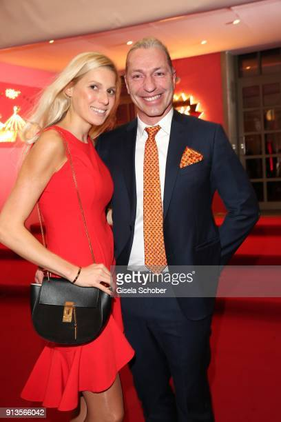 Friedemann Findeis and his girlfriend Tina during Michael Kaefer's 60th birthday celebration at Postpalast on February 2 2018 in Munich Germany