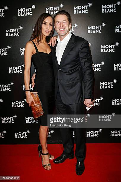 Friederike Dirscherl and Bruno Eyron attend the Montblanc House Opening on February 09 2016 in Hamburg Germany