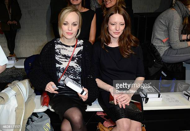 Friederike Kempter and Lavinia Wilson attend the Lala Berlin show during MercedesBenz Fashion Week Autumn/Winter 2014/15 at Palazzo Italia on January...