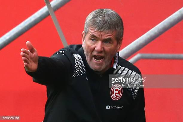 Friedhelm Funkel head coach of Duesseldorf reacts during the Second Bundesliga match between FC Ingolstadt 04 and Fortuna Duesseldorf at Audi...