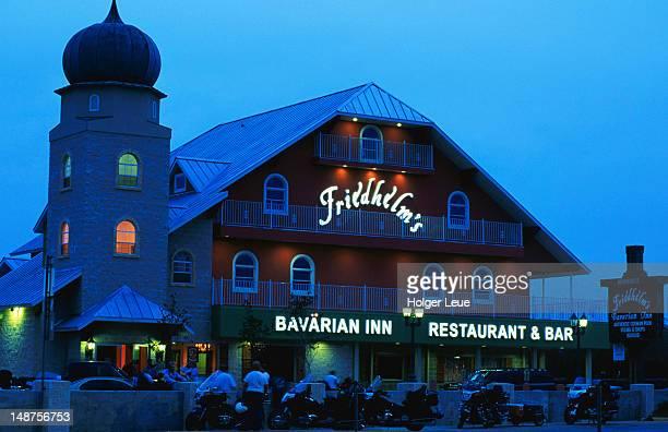 Friedhelm's Bavarian Inn, exterior, at dusk.