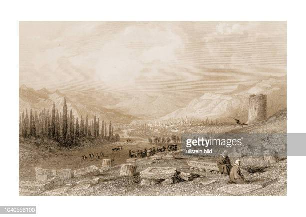 Friedhof bei Akhisar 1830 Engraved by HAdlard after a picture by WHBartlett published in Syria The Holy Land Asia Minor c Illustrated London and...