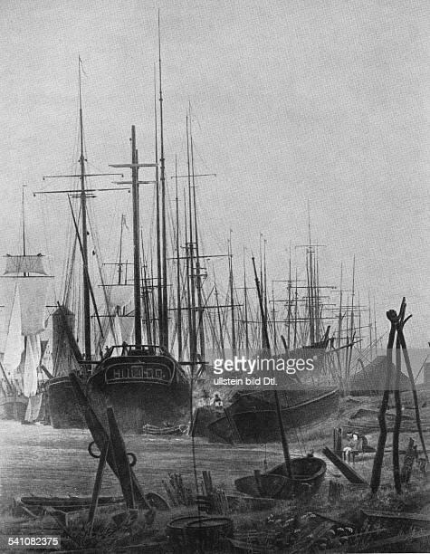 Friedrich, Caspar David *1774-1840+Maler, Graphiker, DeutschlandDer Hafen von Greifswald nach Sonnenunter-gang