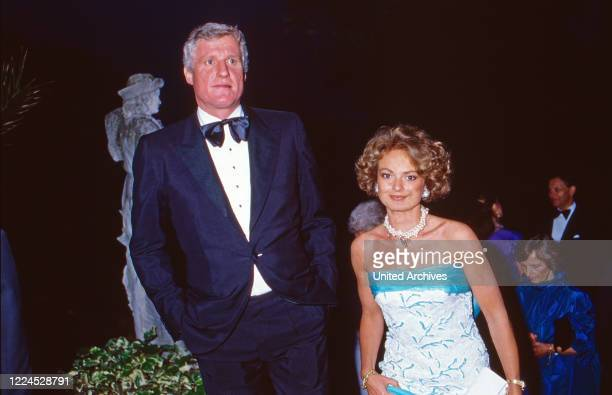 Friedrich Christian Mick Flick with his wife Maya Countess of Schoenburg Glauchau circa 1986