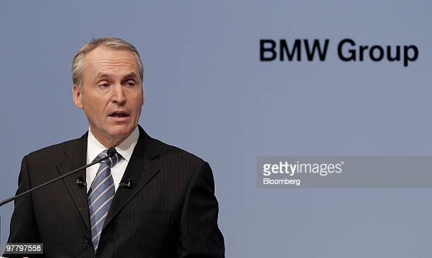 Friedrich Eichiner chief financial officer of Bayerische Motoren Werke AG speaks during the company's news conference in Munich Germany on Wednesday...
