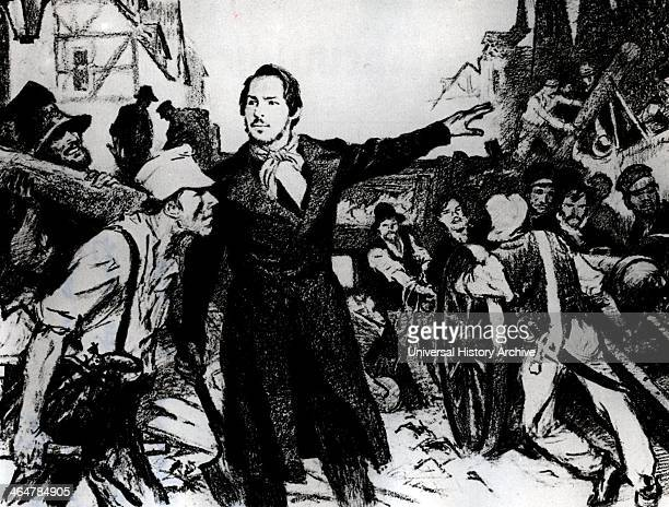 Friedrich Engels German socialist directing the construction of a barricade in the streets of Elberfeld during the riots of May 1849 in Prussia