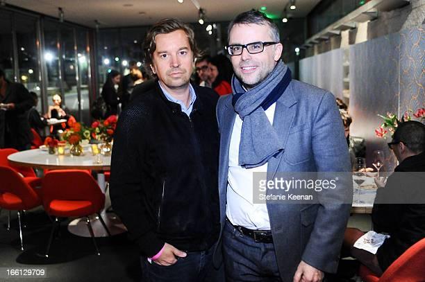 Friedrich Kunath and Douglas Hubert attend Takashi Murakami's international film premiere of Jellyfish Eyes at LACMA on April 8 2013 in Los Angeles...