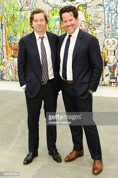 Friedrich Kunath and Tim Blum attend Takashi Murakami Private Preview And Dinner At Blum Poe on April 11 2013 in Los Angeles California