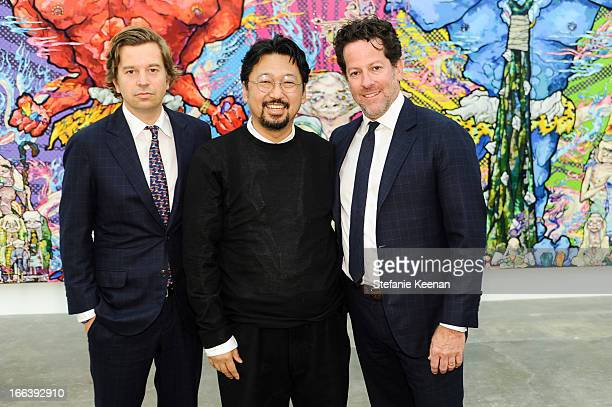 Friedrich Kunath Takashi Murakamii and Tim Blum attend Takashi Murakami Private Preview And Dinner At Blum Poe on April 11 2013 in Los Angeles...