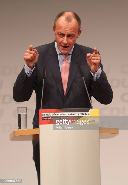 Friedrich Merz businessman and German Christian Democrats politician speaks at the CDU party's regional conference for Berlin and the state of...
