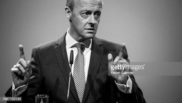 Friedrich Merz candidate for the CDU party leadership speaks during the CDU state party conference on December 01 2018 in Leipzig Germany