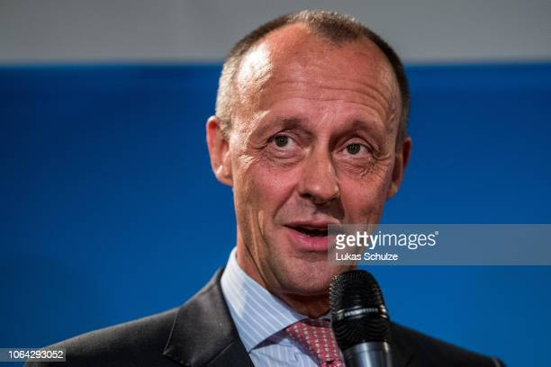 Friedrich Merz CDU Bundestag faction leader in 20002002 attends a press conference to the speak to media before attending a meeting of the CDU North...