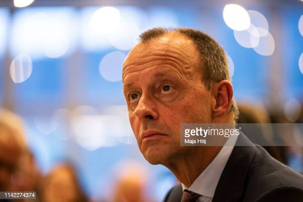 Friedrich Merz former candidate for the CDU party leadership attends German Christian Democrats European Elections Campaign launch on April 12 2019...