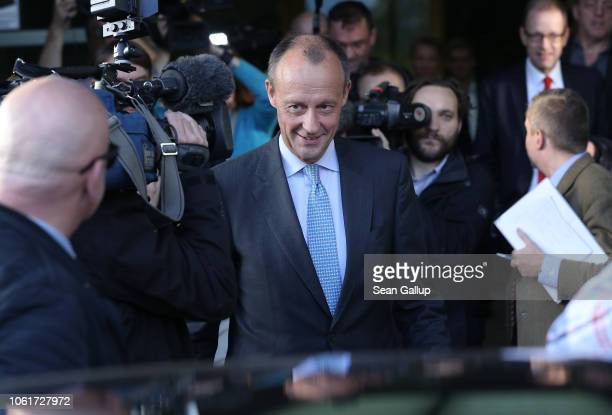 Friedrich Merz German Christian Democrat and former politician departs after speaking to the media over his decision to run for the position of head...