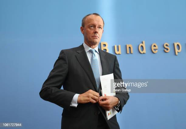 Friedrich Merz German Christian Democrat and former politician prepares to depart after spaking to the media over his decision to run for the...