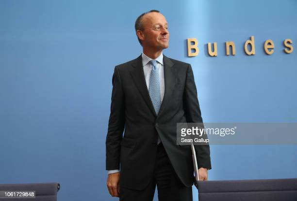 Friedrich Merz German Christian Democrat and former politician prepares to depart after speaking to the media over his decision to run for the...