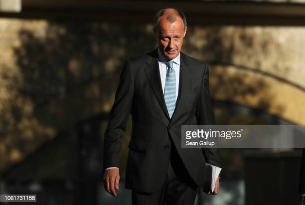 Friedrich Merz, German Christian Democrat and former politician, arrives to speak to the media over his decision to run for the position of head of...